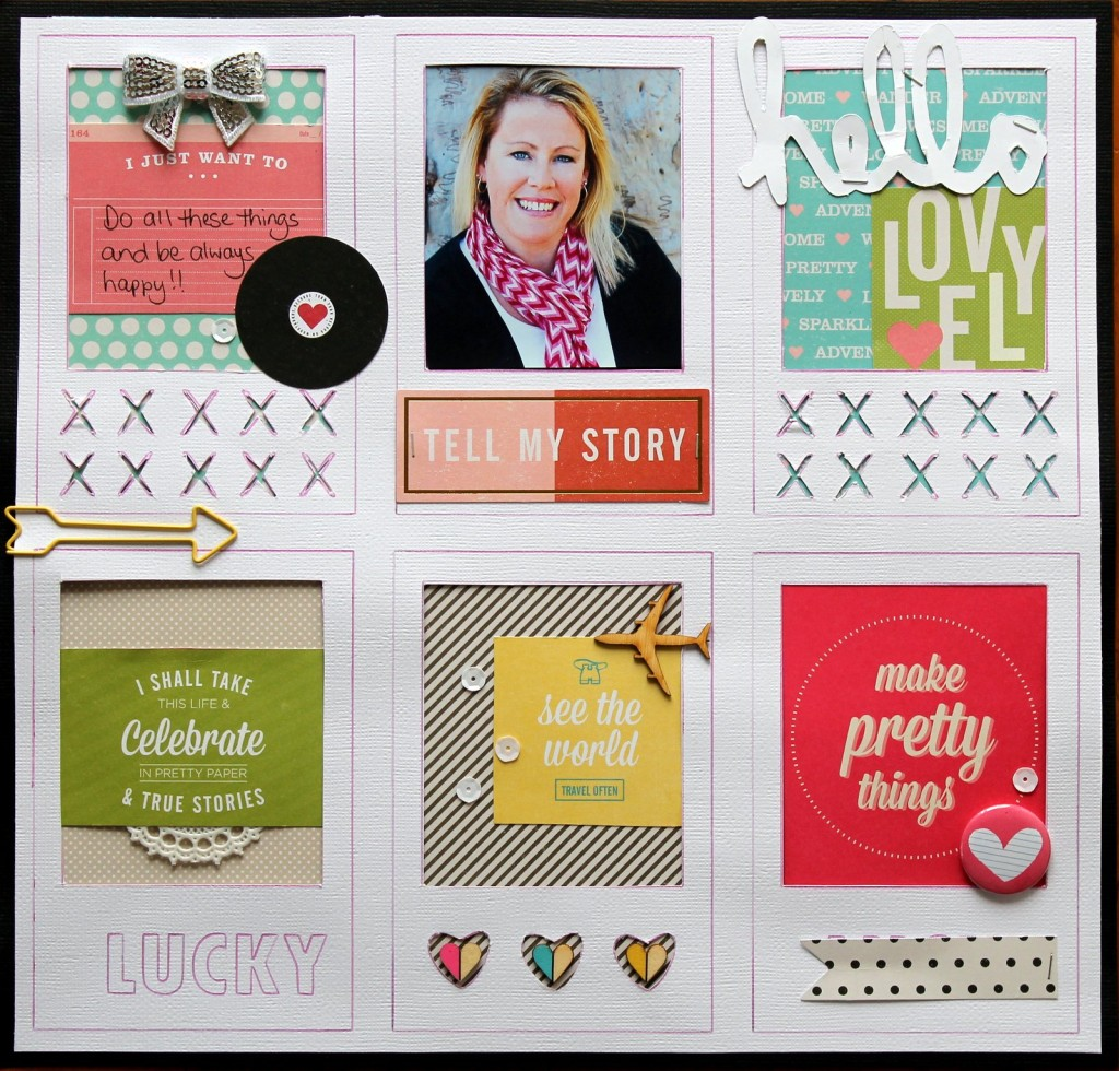 Tell My Story: a layout featuring American Crafts Shimelle collection.