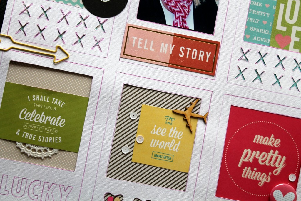 Tell My Story, Close-up Detail: a layout featuring American Crafts Shimelle collection.